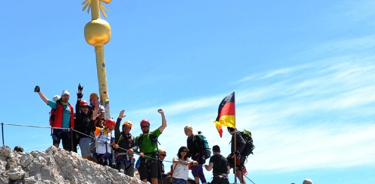 Den Gipfel der Zugspitze erreicht