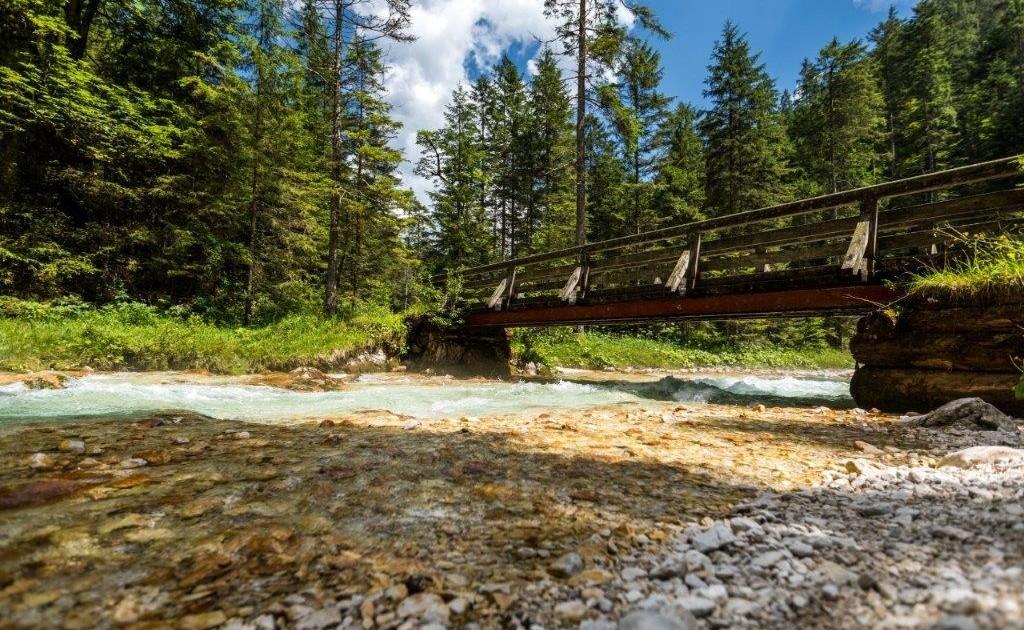 Der Spitzenwanderweg führt entlang des glasklaren Wassers der Partnach