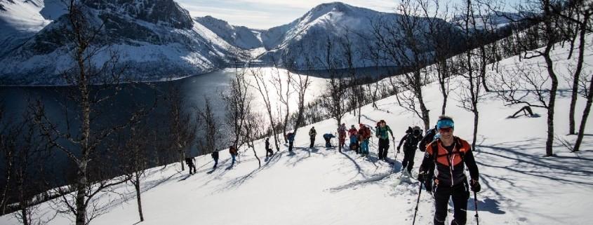 Einsame Skitouren in Senja direkt vom Fjord