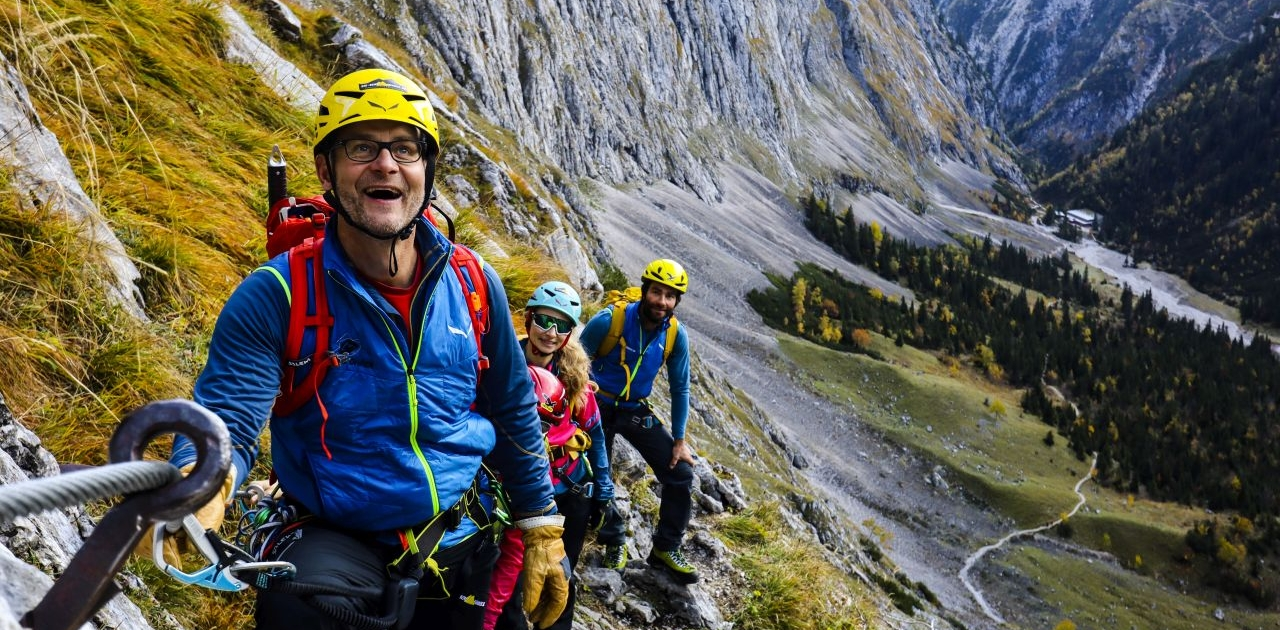 Kurz nach der Höllentalangerhütte im Klettersteig